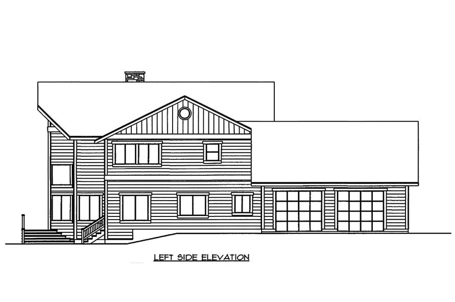 Home Plan Left Elevation of this 3-Bedroom,3522 Sq Ft Plan -132-1595