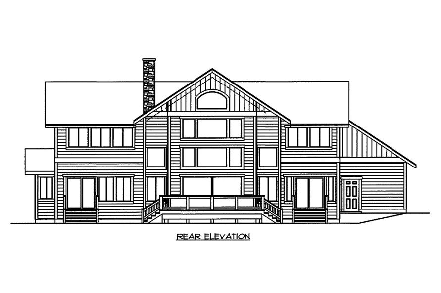 Home Plan Rear Elevation of this 3-Bedroom,3522 Sq Ft Plan -132-1595