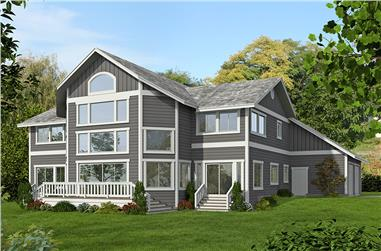 Front elevation of Contemporary home (ThePlanCollection: House Plan #132-1595)
