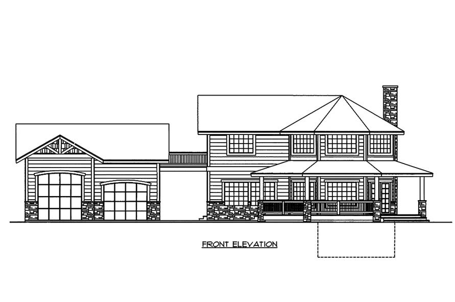Home Plan Front Elevation of this 2-Bedroom,1968 Sq Ft Plan -132-1596