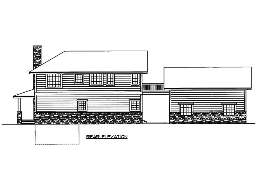 Home Plan Rear Elevation of this 2-Bedroom,1968 Sq Ft Plan -132-1596