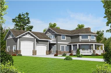 Front elevation of Contemporary home (ThePlanCollection: House Plan #132-1596)