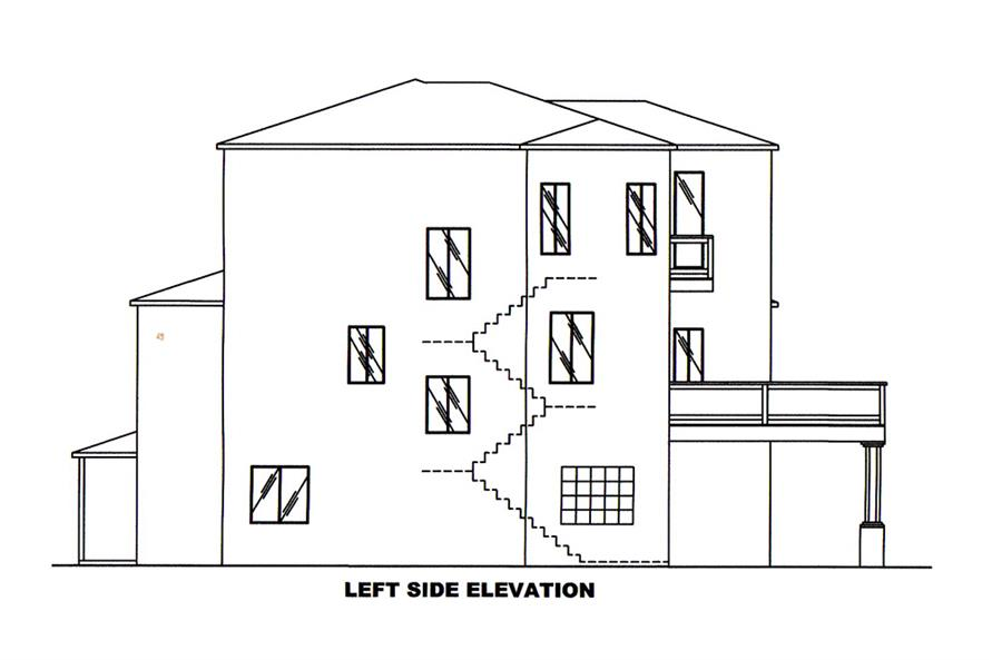 Home Plan Left Elevation of this 2-Bedroom,2231 Sq Ft Plan -132-1602