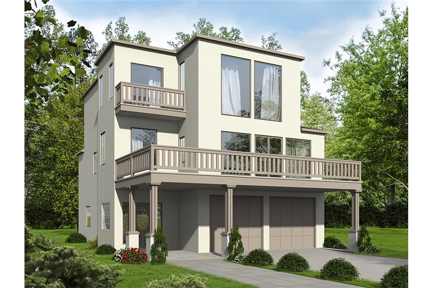 2-Bedroom, 2231 Sq Ft Modern House Plan - 132-1602 - Front Exterior
