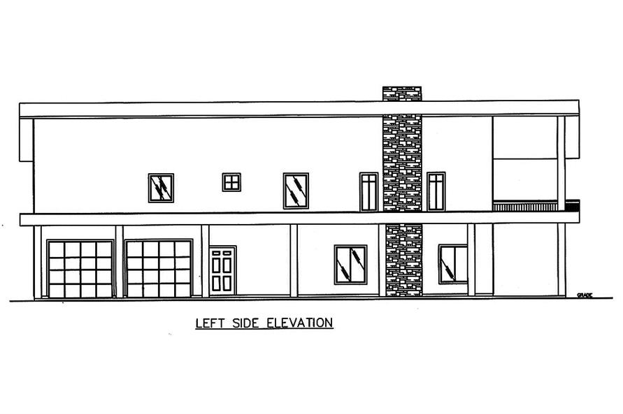 Home Plan Left Elevation of this 2-Bedroom,3396 Sq Ft Plan -132-1603