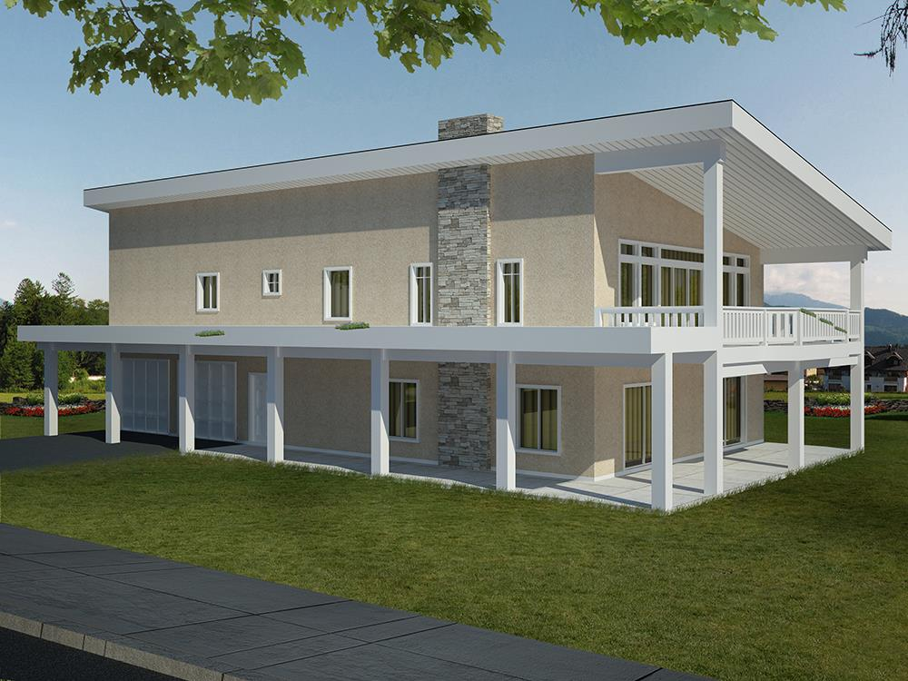 Front elevation of Contemporary home (ThePlanCollection: House Plan #132-1603)