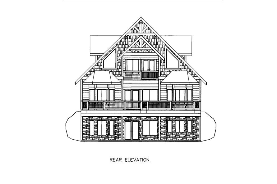 Home Plan Rear Elevation of this 3-Bedroom,3618 Sq Ft Plan -132-1605