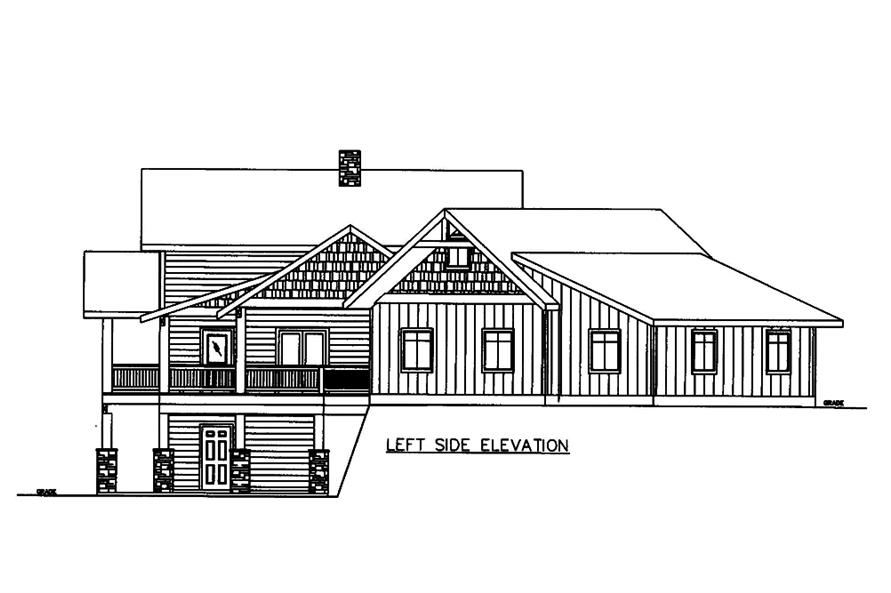 Home Plan Left Elevation of this 3-Bedroom,4139 Sq Ft Plan -132-1606