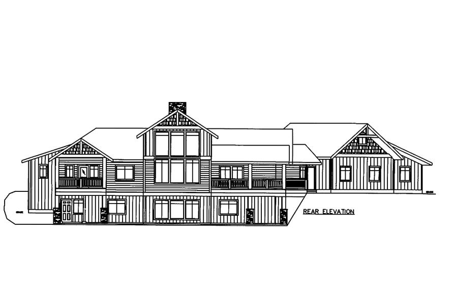 Home Plan Rear Elevation of this 3-Bedroom,4139 Sq Ft Plan -132-1606