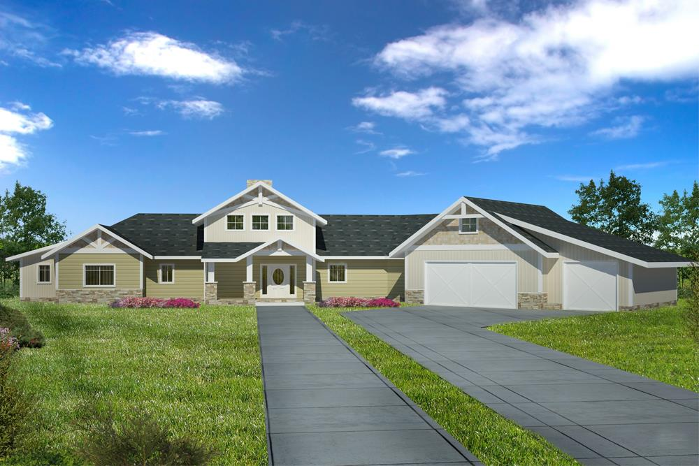 Front elevation of Craftsman home (ThePlanCollection: House Plan #132-1606)
