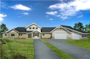 3-Bedroom, 4139 Sq Ft Craftsman Home Plan - 132-1606 - Main Exterior
