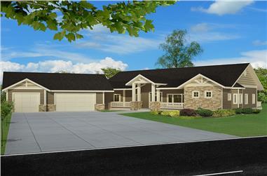 4-Bedroom, 4405 Sq Ft Craftsman Home Plan - 132-1613 - Main Exterior
