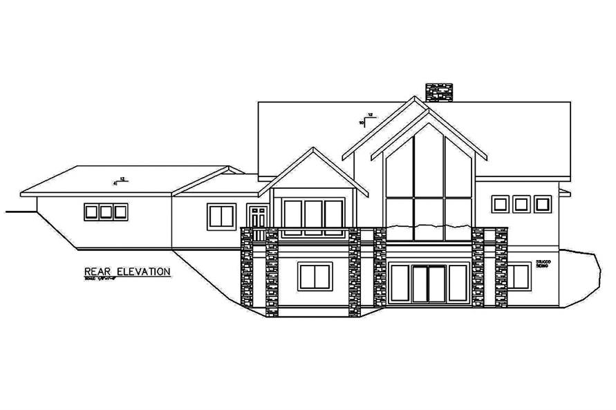 Home Plan Rear Elevation of this 4-Bedroom,3695 Sq Ft Plan -132-1614