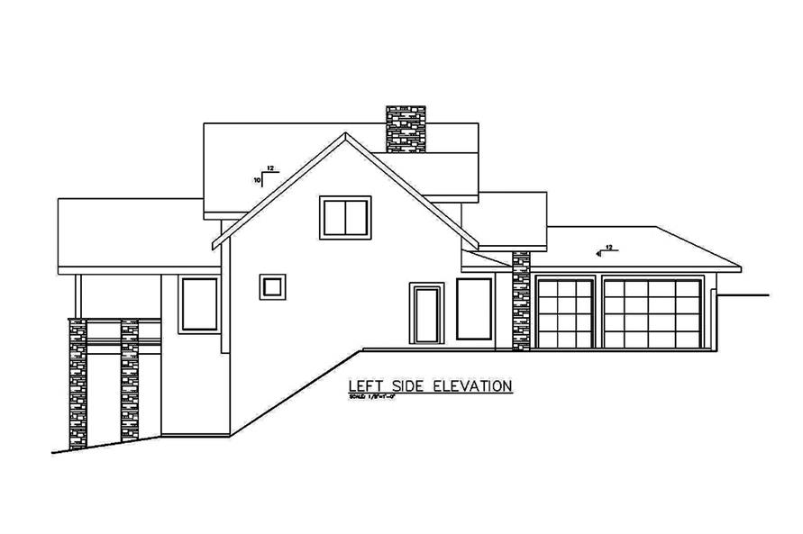 Home Plan Left Elevation of this 4-Bedroom,3695 Sq Ft Plan -132-1614