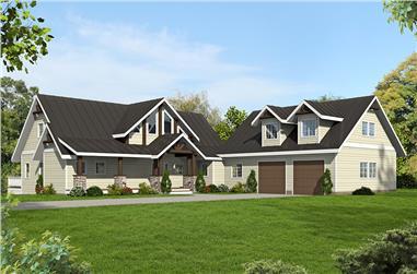 3-Bedroom, 4240 Sq Ft Craftsman House Plan - 132-1618 - Front Exterior