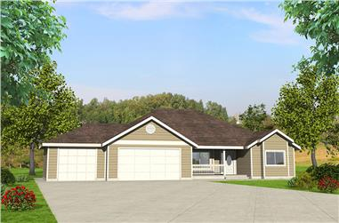3-Bedroom, 1804 Sq Ft Ranch House Plan - 132-1619 - Front Exterior