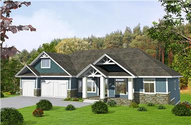 Front elevation of Craftsman home (ThePlanCollection: House Plan #132-1620)
