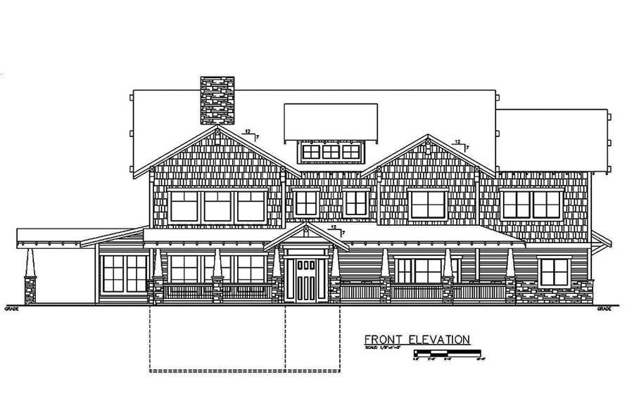 Home Plan Front Elevation of this 6-Bedroom,5828 Sq Ft Plan -132-1621
