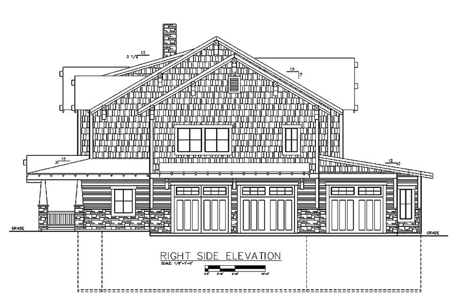 Home Plan Right Elevation of this 6-Bedroom,5828 Sq Ft Plan -132-1621