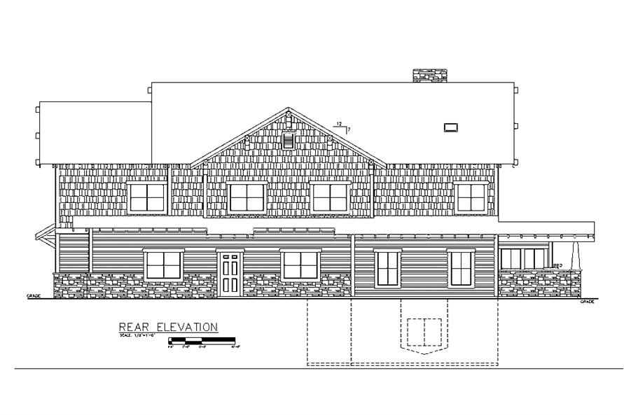 Home Plan Rear Elevation of this 6-Bedroom,5828 Sq Ft Plan -132-1621