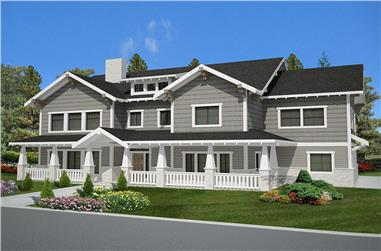 Front elevation of Craftsman home (ThePlanCollection: House Plan #132-1621)