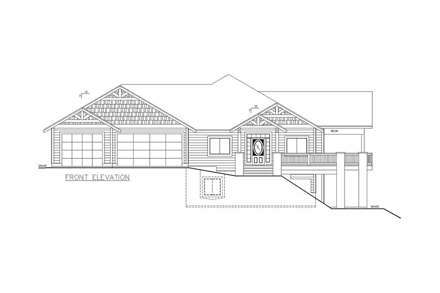 Home Plan Front Elevation of this 5-Bedroom,3744 Sq Ft Plan -132-1624