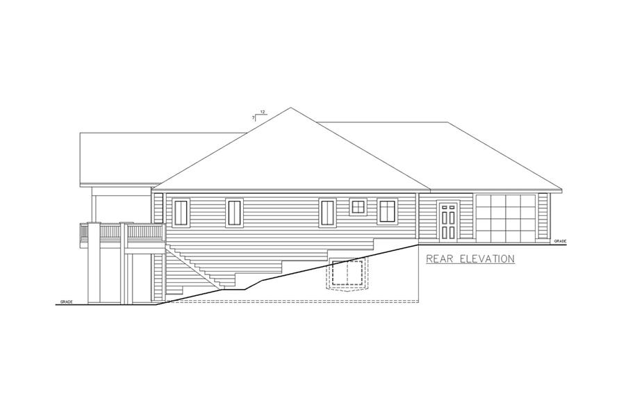 Home Plan Rear Elevation of this 5-Bedroom,3744 Sq Ft Plan -132-1624