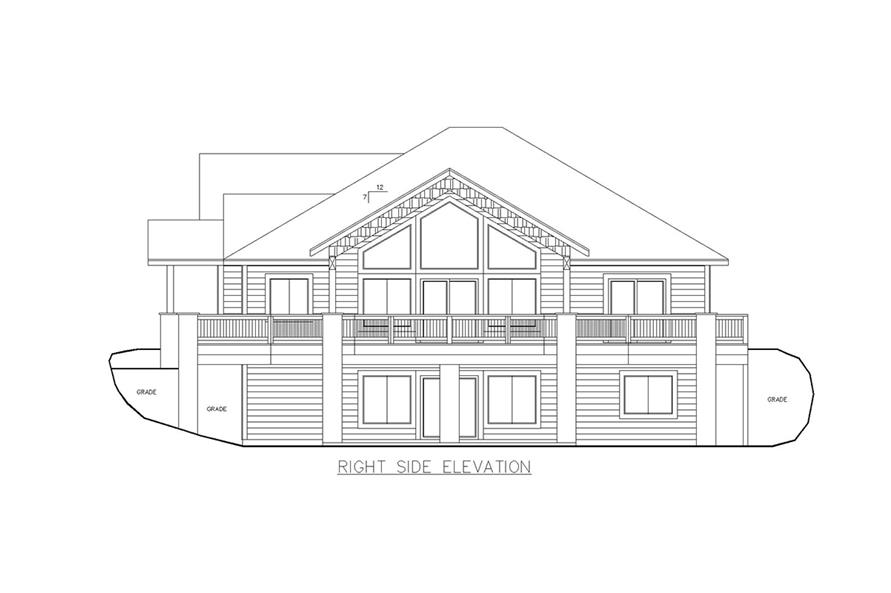 Home Plan Right Elevation of this 5-Bedroom,3744 Sq Ft Plan -132-1624