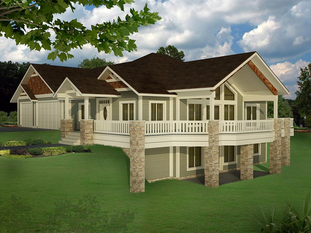 Front elevation of Craftsman home (ThePlanCollection: House Plan #132-1624)