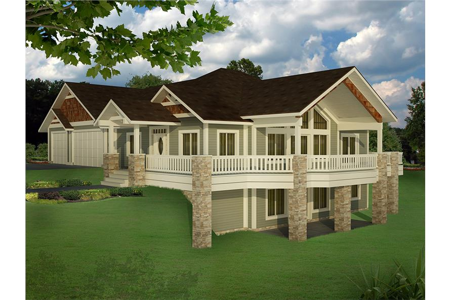 5-Bedroom, 3744 Sq Ft Craftsman House Plan - 132-1624 - Front Exterior