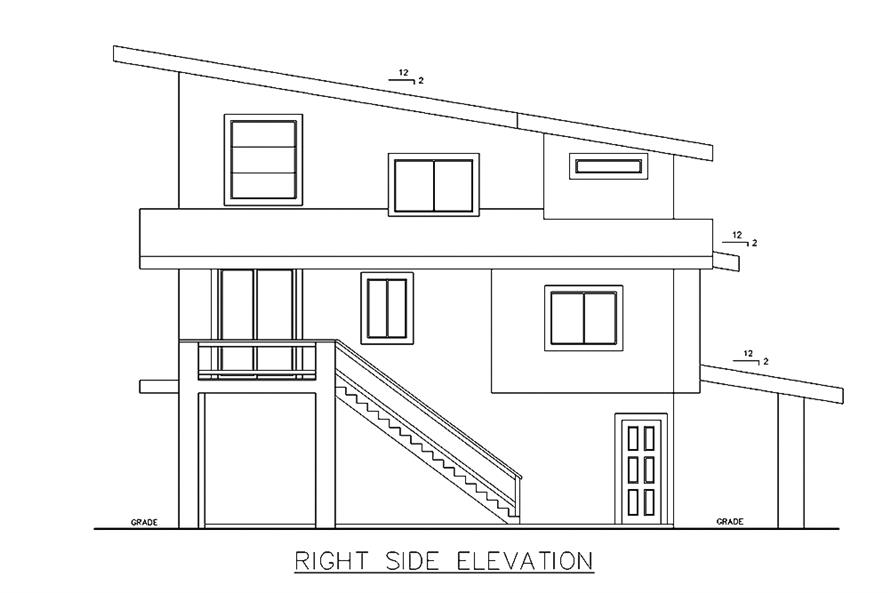 Home Plan Right Elevation of this 3-Bedroom,3142 Sq Ft Plan -132-1629