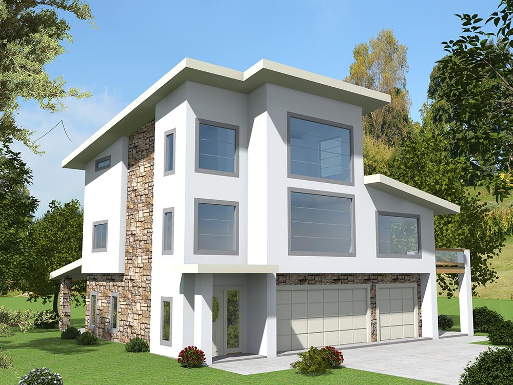 Front elevation of Contemporary home (ThePlanCollection: House Plan #132-1629)
