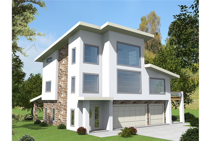 3-Bedroom, 3142 Sq Ft Contemporary House Plan - 132-1629 - Front Exterior