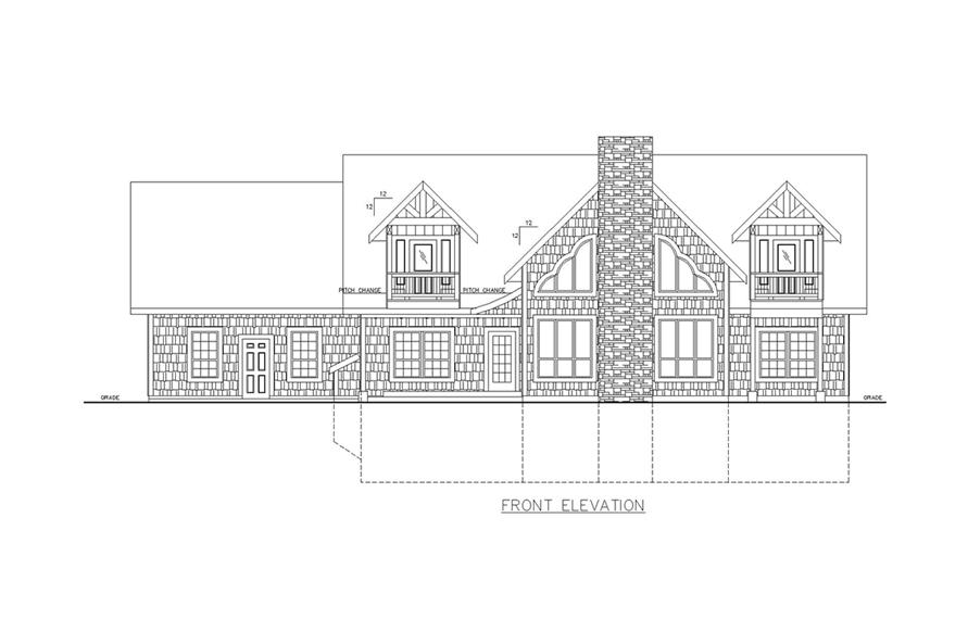 Home Plan Front Elevation of this 6-Bedroom,5039 Sq Ft Plan -132-1631
