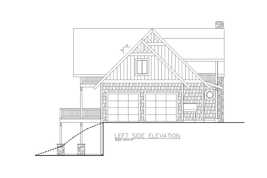Home Plan Left Elevation of this 6-Bedroom,5039 Sq Ft Plan -132-1631