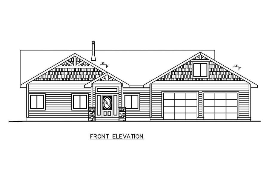 Home Plan Front Elevation of this 5-Bedroom,4364 Sq Ft Plan -132-1635