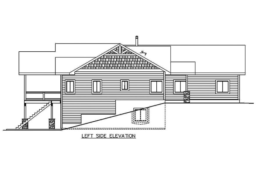 Home Plan Left Elevation of this 5-Bedroom,4364 Sq Ft Plan -132-1635