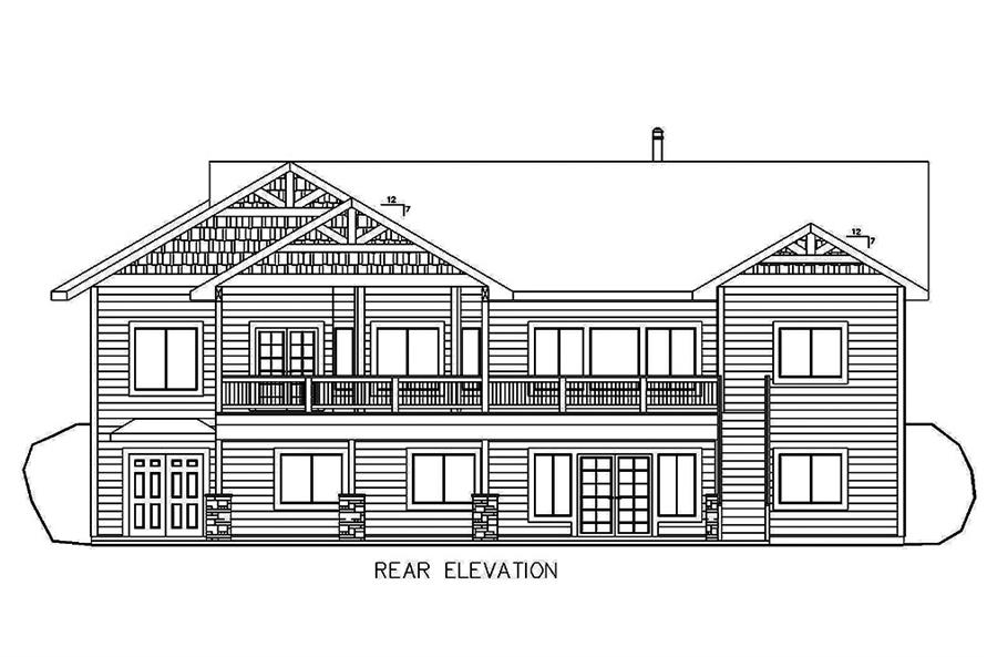Home Plan Rear Elevation of this 5-Bedroom,4364 Sq Ft Plan -132-1635