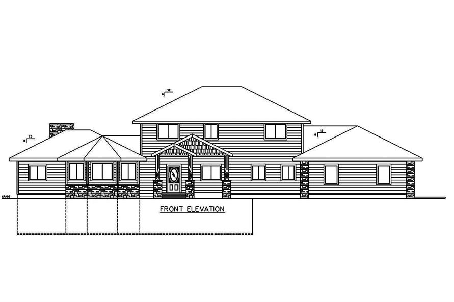 Home Plan Front Elevation of this 3-Bedroom,5925 Sq Ft Plan -132-1642