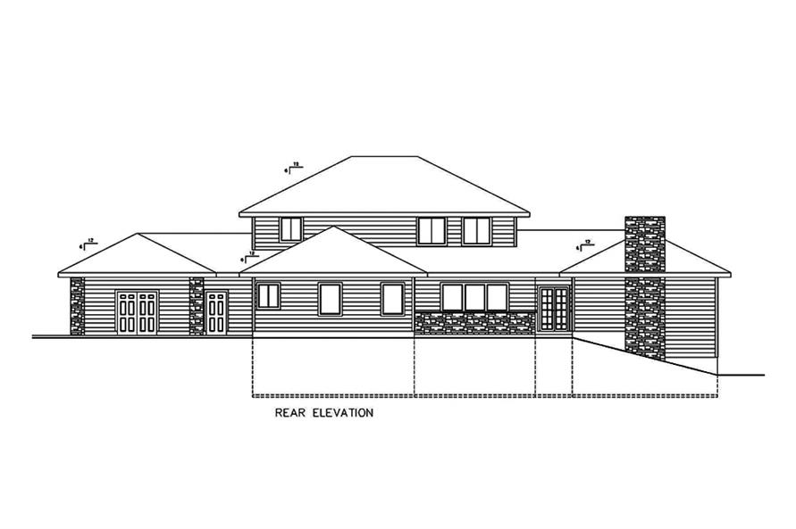 Home Plan Rear Elevation of this 3-Bedroom,5925 Sq Ft Plan -132-1642