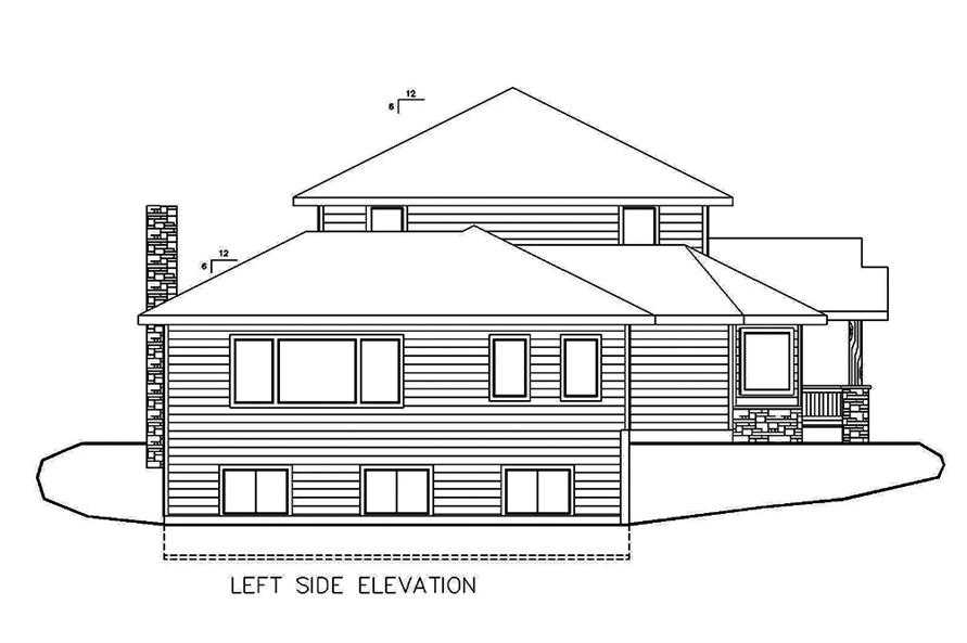 Home Plan Left Elevation of this 3-Bedroom,5925 Sq Ft Plan -132-1642