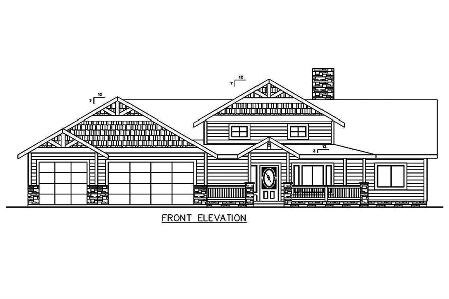 Home Plan Front Elevation of this 5-Bedroom,4333 Sq Ft Plan -132-1644