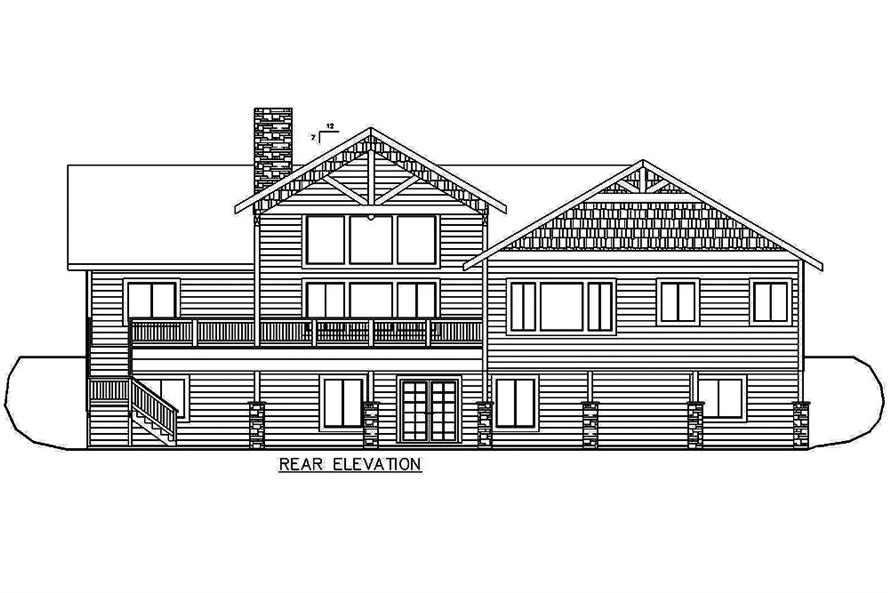 Home Plan Rear Elevation of this 5-Bedroom,4333 Sq Ft Plan -132-1644