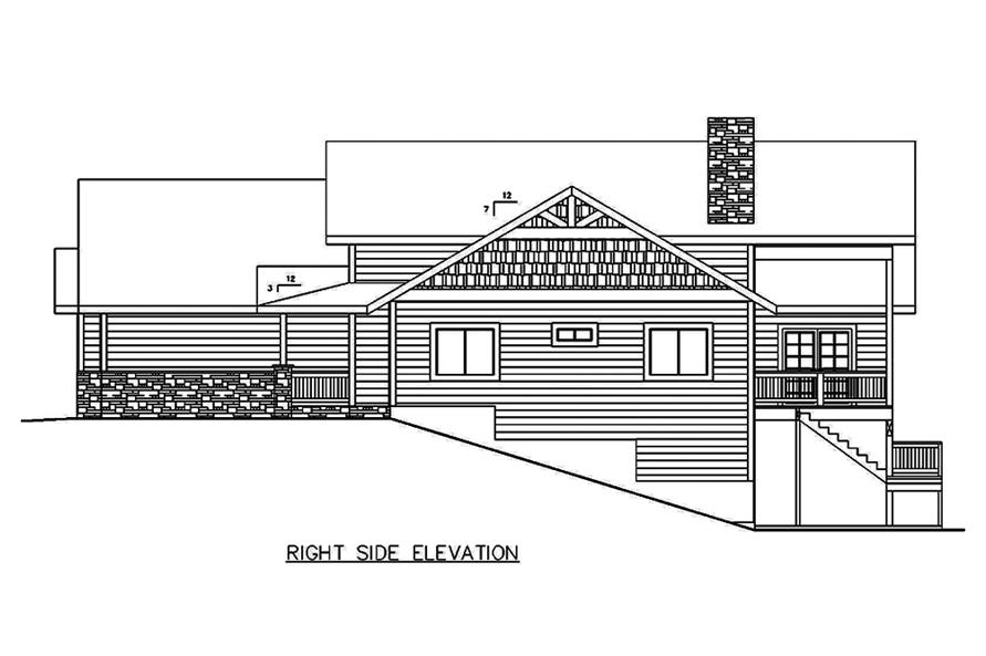 Home Plan Right Elevation of this 5-Bedroom,4333 Sq Ft Plan -132-1644