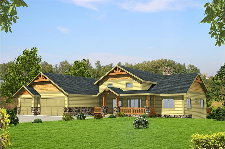 5-Bedroom, 4333 Sq Ft Craftsman Home Plan - 132-1644 - Main Exterior