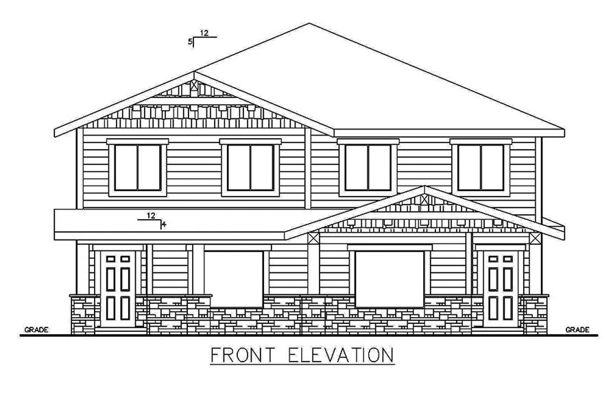 Home Plan Front Elevation of this 4-Bedroom,1543 Sq Ft Plan -132-1645
