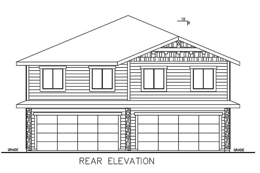 Home Plan Rear Elevation of this 4-Bedroom,1543 Sq Ft Plan -132-1645