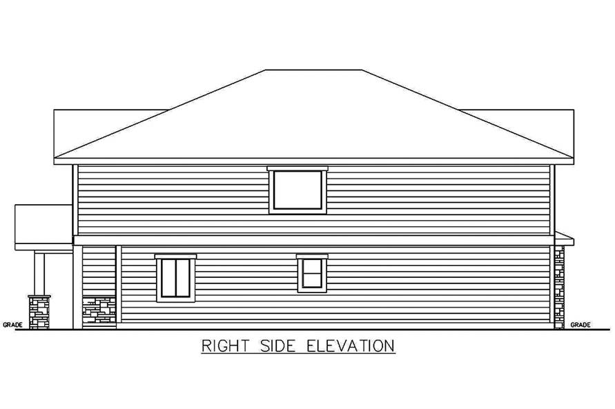 Home Plan Right Elevation of this 4-Bedroom,1543 Sq Ft Plan -132-1645