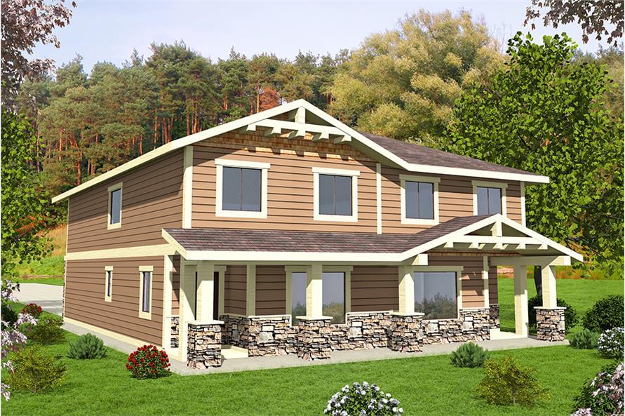 4-Bedroom, 1543 Sq Ft Craftsman Home Plan - 132-1645 - Main Exterior
