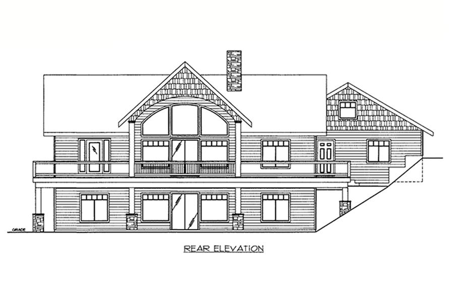 Home Plan Rear Elevation of this 2-Bedroom,3206 Sq Ft Plan -132-1649